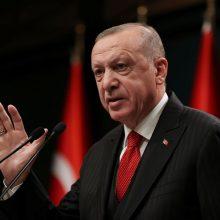 """R.T. Erdoganas išreiškė viltį,  kad Prancūzija kuo greičiau """"atsikratys E. Macrono"""""""