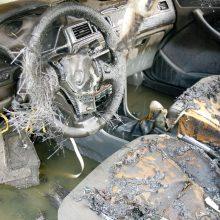 Utenoje apdegė du automobiliai