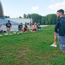 Darbas: pirmas treniruočių etapas – vadovaujant fizinio rengimo treneriui E.Lukoševičiui.