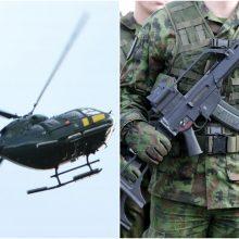 Per pratybas – karių paieška: pasitelktas sraigtasparnis ir pasieniečiai