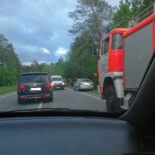 Netoli Kačerginės automobilis nuvažiavo nuo kelio, pranešta apie prispaustą žmogų