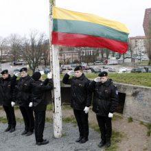 Šventinę vėliavą kėlė jūrų kadetai