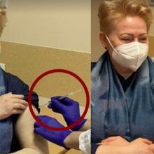 Nuo COVID-19 paskiepytos D. Grybauskaitės nuotrauka sukėlė šaršalą: užkliuvo švirkštas su antgaliu