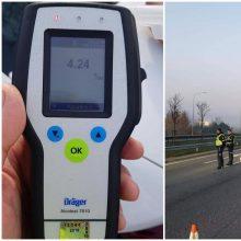 Vilniuje vairuotojui nustatytas daugiau nei keturių promilių girtumas