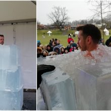 Ledo skulptūrų festivalyje pagerintas buvimo ledo gniaužtuose rekordas