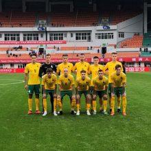 Lietuvos jaunimo futbolo rinktinė turnyrą Kinijoje pradėjo lygiosiomis