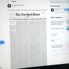 Niujorko laikraštis niūrią COVID-19 ribą paminėjo aukų sąrašu pirmajame puslapyje