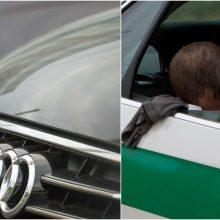 """Girto """"Audi"""" vairuotojo kelionė Telšiuose: nuvažiavo nuo kelio, grasino pareigūnams"""
