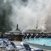 """Gaisras Kretingos rajone: """"Atostogų parke"""" užsiliepsnojo pirtis"""