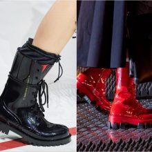 Dvi kryptys: ateinančio sezono lyderiai – kareiviški batai ir elegantiški bateliai ant tulpelės formos kulnelio.