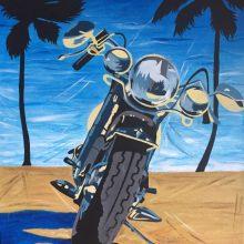 Atlygis: motociklą Augustė nutapė norėdama atsidėkoti už Kalėdoms gautą eglutę.