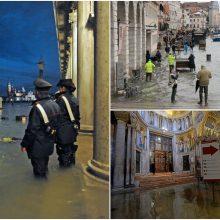 Venecijai ruošiantis potvyniui, uždaryta Šv. Morkaus aikštė