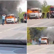 Į Noreikiškes lėkė gausios ugniagesių pajėgos: atvira liepsna degė automobilis