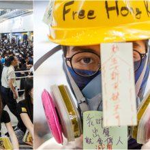 Taiki demonstracija Honkongo oro uoste: protestuotojai pasitinka atvykėlius