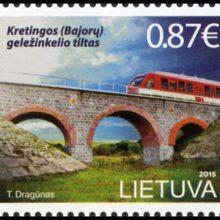 Pašto ženkle įamžintas Kretingos geležinkelio tiltas