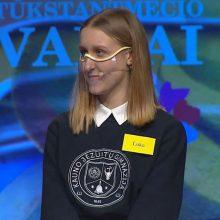 Finalas: atėjusi į laidą Kauno jėzuitų gimnazijos devintokė neįsivaizdavo, kad studiją paliks kaip laimėtoja.