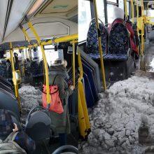 Keleiviai gūžčioja pečiais: sniego autobuso viduje – kaip lauke