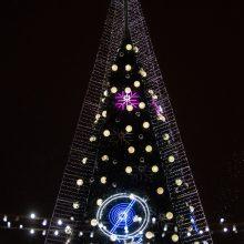 Katedros aikštėje suspindo stulbinanti Vilniaus Kalėdų eglė