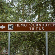 Neįprastas kelio ženklas Kaune su nuoroda apie Černobylį: vienintelis toks, vedantis į kino lokaciją