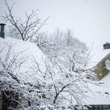 Per šalį keliaujantis sniegas pasiekė ir Vilnių