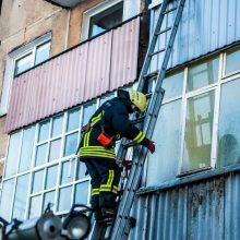 Uostamiesčio ugniagesiai skuba gesinti degančio buto