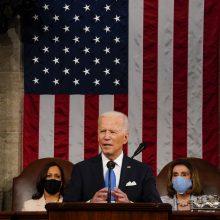 Per pirmą kalbą Kongrese J. Bidenas pareiškė nesiekiantis konflikto su Kinija ir Rusija
