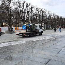 """""""Kauno švara"""" nuplovė Šančių protesto pėdsakus"""