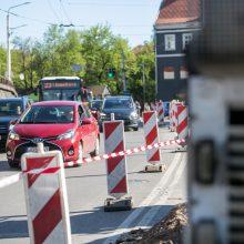Prieš Kauno pilies žiedinės sankryžos rekonstrukciją vairuotojus jau pasitiko spūstys