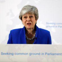 """Th. May siekdama paramos """"Brexit"""" susitarimui siūlo balsavimą dėl naujo referendumo"""