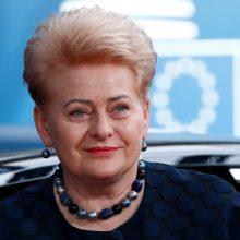 Kadenciją baigusiai prezidentei Varšuvoje bus įteiktas apdovanojimas