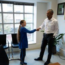 Klimato aktyvistė G. Thunberg susitiko su B. Obama