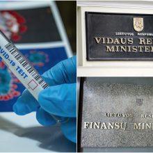 Vidaus reikalų ir Finansų ministerijose – po tris COVID-19 atvejus