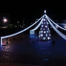 Pirmą kartą Tauragėje įžiebta interaktyvi Kalėdų eglė