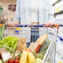Pigiausių maisto produktų vidutinis krepšelis krenta aštuntą mėnesį iš eilės