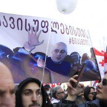 Sakartvele tūkstančiai žmonių išėjo į gatves protestuoti prieš opozicijos lyderio areštą