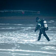 """Kauno mariose nuskendęs """"Subaru"""" automobilis aptiktas, žmonių jame nerasta"""
