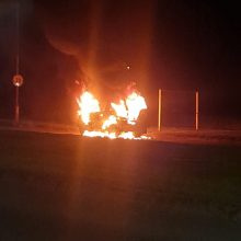 """Taikos prospekte automobilis """"Toyota"""" virto ugnies kamuoliu"""