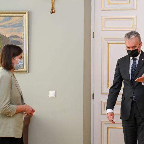 G. Nausėda susitinka su kandidate į ministres G. Skaiste  © P. Peleckio / Fotobanko, R. Dačkaus / Prezidentūros nuotr.