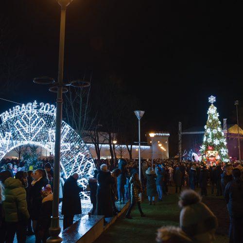 Tauragėje įžiebta Kalėdų eglė  © Tauragės rajono savivaldybės nuotr.