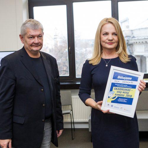 """Žurnalistinių darbų konkurso """"Skaidrumas – visų mūsų rankose 2018"""" apdovanojimai  © Pauliaus Peleckio nuotr."""