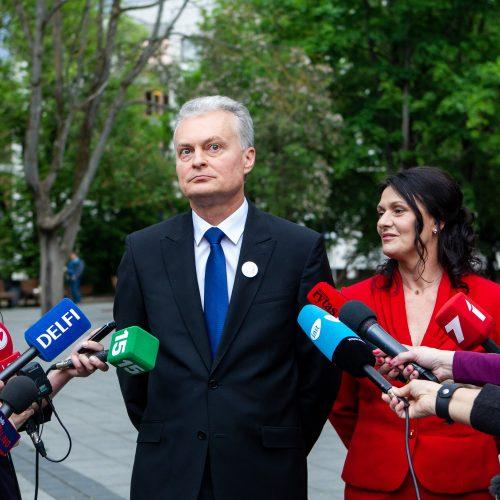 G. Nausėdos spaudos konferencija V. Kudirkos aikštėje  © P. Peleckio / Fotobanko nuotr.
