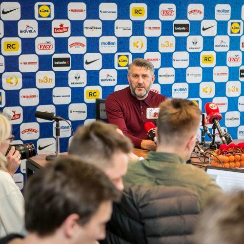 Naujojo Lietuvos krepšinio rinktinės vyriausiojo trenerio D. Maskoliūno spaudos konferencija  © Vilmanto Raupelio nuotr.
