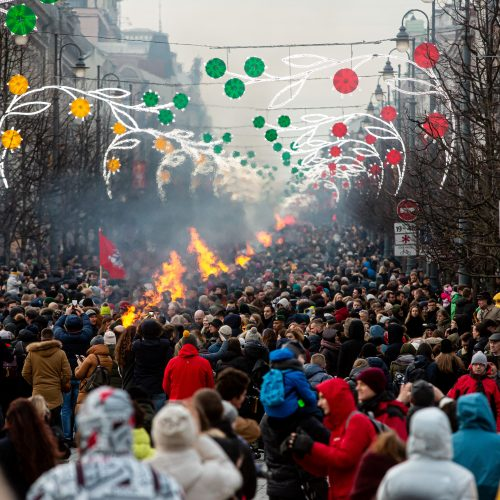 Gedimino prospekte suliepsnojo 30 Laisvės laužų  © G. Skaraitienės / Fotobanko nuotr.