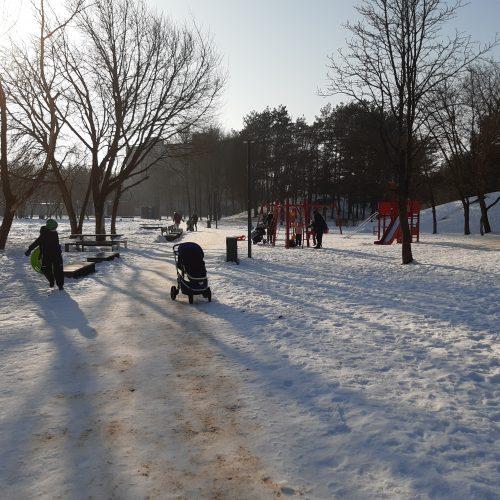 Saulėtos dienos išginė kauniečius į parkus