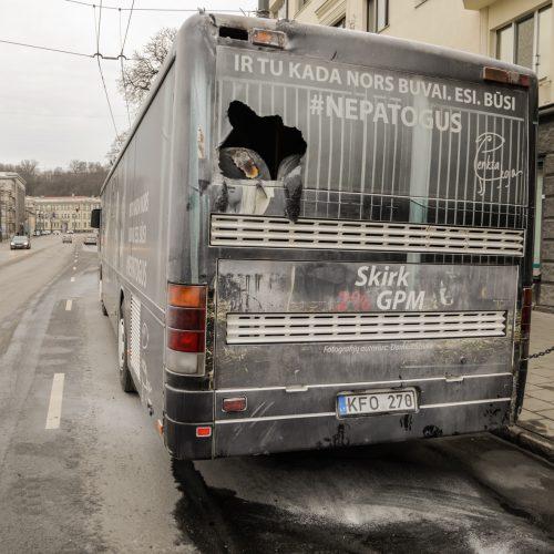 Kauno centre užsidegė autobusas  © Laimio Steponavičiaus nuotr.