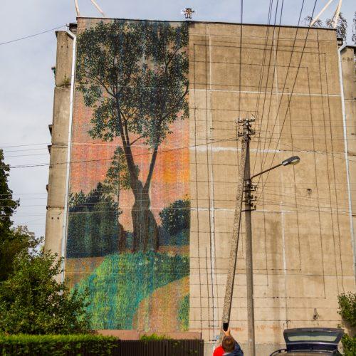 Freska ant Kauno daugiabučio  © Laimio Steponavičiaus nuotr.