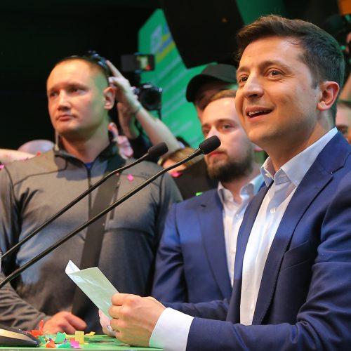 V. Zelenskio pergalė Ukrainos prezidento rinkimuose  © Scanpix nuotr.