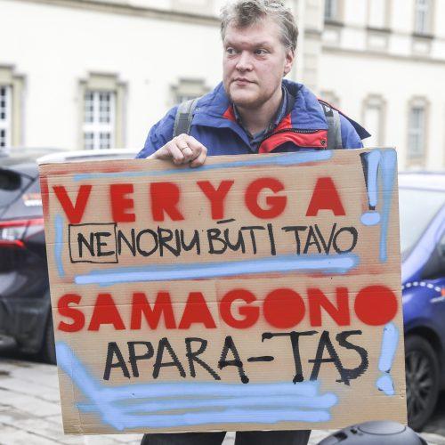 Sergančiųjų cukriniu diabetu piketas prie Sveikatos apsaugos ministerijos  © M. Morkevičiaus / ELTOS nuotr.