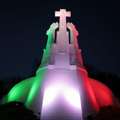 Vilnius nušvito Italijos vėliavos spalvomis  © S. Žiūros/Vilniaus savivaldybės, A.Pliadžio/KAM ir D.Labučio/ELTOS nuotr.