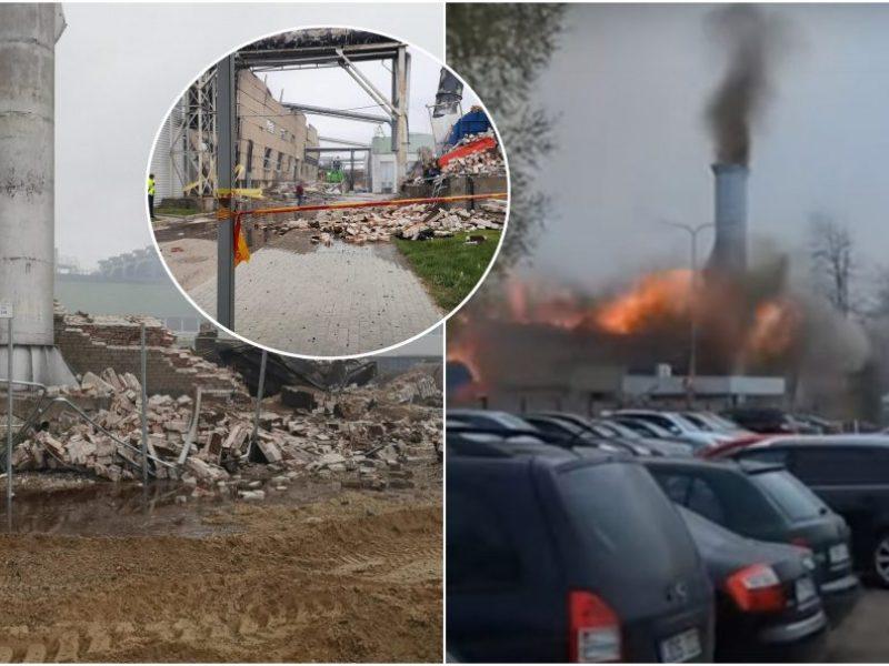 Sprogimas Klaipėdoje: ugniagesiai dar budi gaisravietėje
